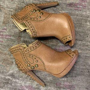 Shoes - BCBG Tan bootie heels